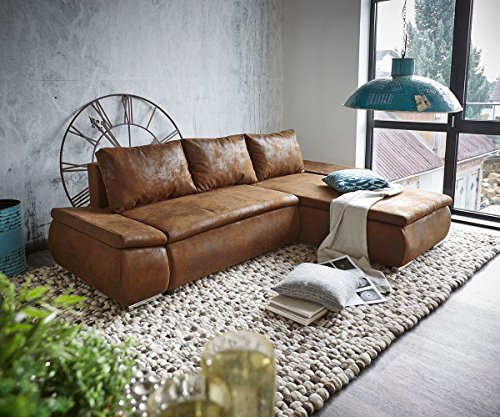 DELIFE Couch Abilene Braun 260×175 mit Bettfunktion Ottomane variabel Ecksofa