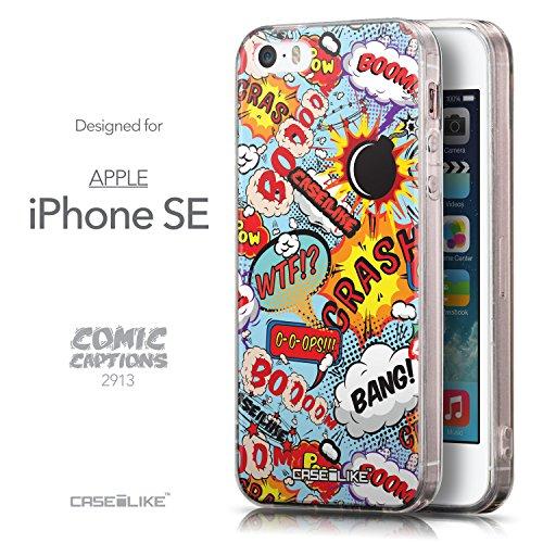 CASEiLIKE Comic Beschriftung Rosa 2912 Ultra Slim Back Hart Plastik Stoßstange Hülle Cover for Apple iPhone SE +Folie Displayschutzfolie +Eingabestift Touchstift (Zufällige Farbe) 2913