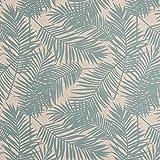 Gardinenstoff Dekostoff Palmen-Blätter beige hellblau 1,4m