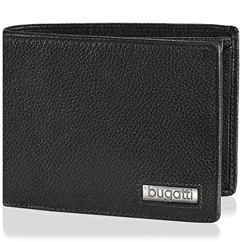 bugatti Cali Querformat Herren Geldbörse 493.410 Leder 12,5 cm mit Klappfach und Reißverschlussfach schwarz