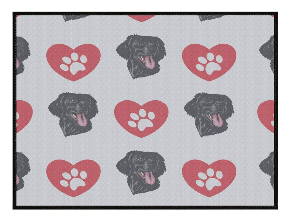 Meishikaeu Flat Coated Retriever Dog Heart Paws Kitchen Door Pet Welcome Floor Mat
