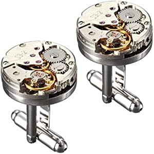Peora Silver Plated Montblanc Iconic Star Logo & Vintage Watch Movement Cufflinks for Men Boys Business Gift