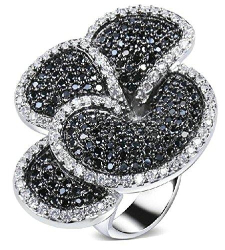 Blumen-rocker Kissen (Beydodo 18k Vergoldet Damen Ringe (Verlobungsringe) Hohle Blumen Förmigen Größe 57 (18.1) Schwarz)