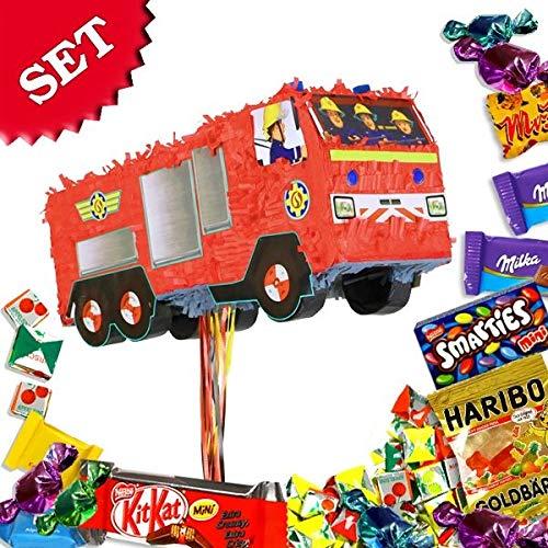 Feuerwehrmann Sam-Pullpinata/Zugpinata im Set +Süßigkeitenfüllung f. Spiele Geburtstag (Piñata Kaufen Eine)