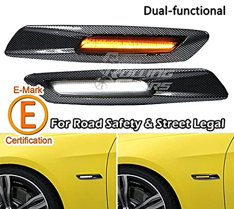 F10 Style Side Marker Lamp, Dual-Function Ultra Bright LED Light, Carbon Fiber Look Style