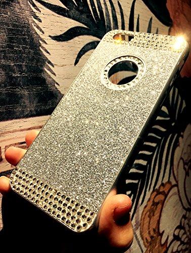 Custodia iPhone 7 Plus Glitter, iPhone 7 Plus Cover Silicone, SainCat Cover per iPhone 7 Plus Custodia Silicone Morbido, Custodia Bling Glitter Strass Diamante Rhinestones 3D Design Ultra Slim Silicon Argento #1