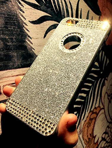 Custodia iPhone 6 Glitter, iPhone 6S Cover Silicone, SainCat Cover per iPhone 6/6S Custodia Silicone Morbido, Custodia Bling Glitter Strass Diamante Rhinestones 3D Design Ultra Slim Silicone Case Ultr Argento #1