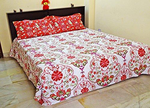 PEEGLI Jahrgang Kingsize Blumen Bettlaken mit Dekorativen 2 Kissenbezüge Satz von 3 Stück Hotelzimmer Bettwäsche (24 Stück-bett-satz)