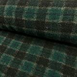Stoffe Werning Wollstrick Karomuster grün-schwarz