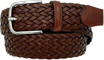 ESPERANTO Cintura intrecciata in cuoio rigenerato e cuoio altezza 3,5 cm, artigianale made in italy con fibbia nichel free anallergica
