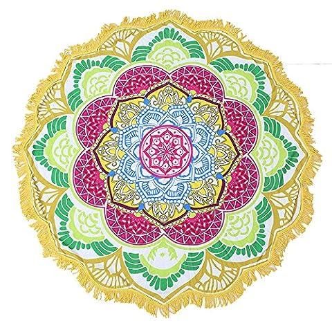 Lugii Cube Fleur de Lotus Serviette de plage Couverture ronde Tassel Bohemian Tapisserie murale Housse de table Tapis de yoga, 5#