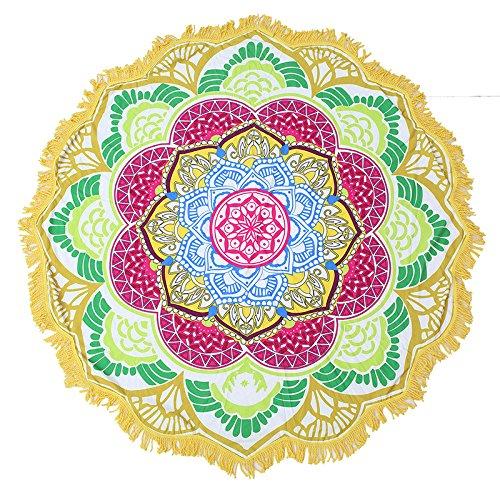 Hamilton Abdeckung (Lanlan Lotus Flower Strandtuch Decke rund Quaste Bohemian Wand Gobelin Tisch Abdeckung Yoga Matte, 5#)