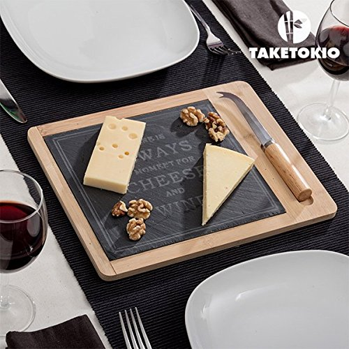 TakeTokio Käseplatte aus Bambus mit Schiefer (2 Teile) (Home-source-bambus)