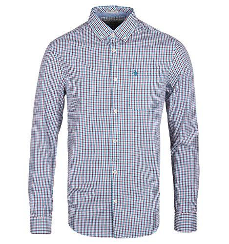 penguin-long-sleeved-gingham-shirt-large-blue