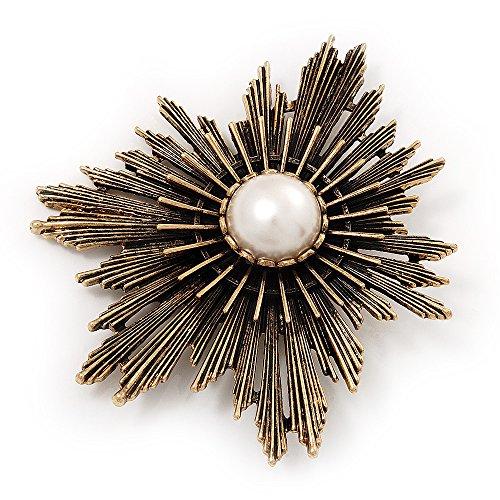 Groß im Vintage-Stil, Messing Stern Pearl, Brosche (Große Messing-schnalle)