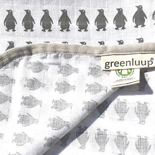 greenluup® kids Babydecke Mullwindeln Stoffwindel Spucktücher 120 x 120 (Grau Weiß) Bio Baumwolle Grau