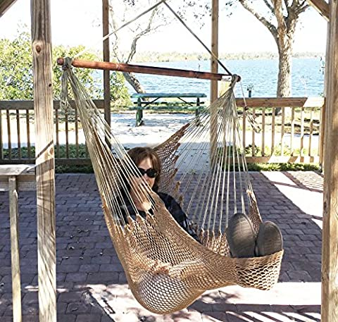 Mayan Hammock Chair - Large Hanging Swing Seat by Krazy Outdoors - High Quality Cotton Rope Construction - Comfortable, Lightweight, Includes Wood Bar - Perfect for Yard, Patio or Beach [Mocha Brown]