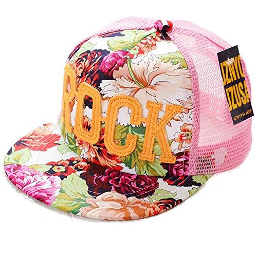 Belsen Mädchen Rock Blume Baseball Kappen Mesh Cap Truckers Hat (rosa)