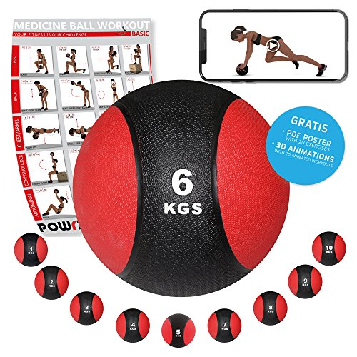 POWRX - Balón Medicinal 6 kg + PDF Workout Negro/Rojo