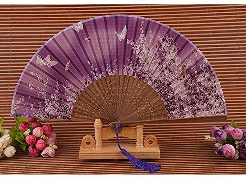 Abanico Estilo Chino,niceEshop(TM) Ventilador de Seda y Bamb? Decoración de la Pared,...