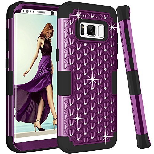 Galaxy S8 Plus Fall, Kamii [Diamond Series] stoßfest 3 in1 Hard PC + Silikon Hybrid Nieten Strass Kristall Diamant Bling Full Body Schutz Schutzhülle für Samsung Galaxy S8 Plus, Violett/Schwarz Camo Crystal Strass