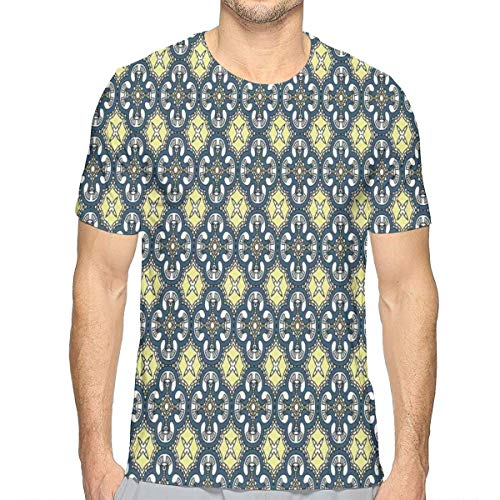 3D Printed T Shirts,Victorian Baroque Ornament Motifs Royal Tile Design Renaissance XXL -