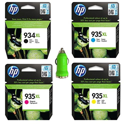 Preisvergleich Produktbild HP 934XL/935XL 4er-Pack Original für HP Officejet Pro 6230, 6820, 6830 inkl. Tonerliga KFZ USB-Ladeadapter