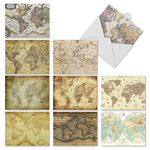 M3076 Map Quests: 10 Assorted Blank All-Occasion Note Cards Feature Antique Maps, w/White Envelopes. by The Best Card Company (Antique White Paper)