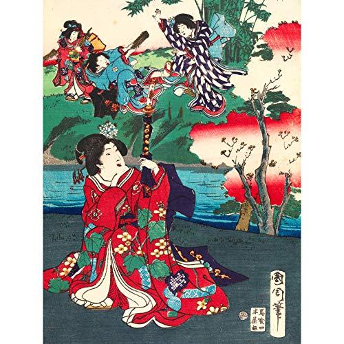Kunichika Tale Genji Women Japanese Painting Large Wall Art Poster Print Thick Paper 18X24 Inch Frau japanisch Malerei Wand Poster drucken -