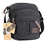 Koolertron Fashion Mens Retro lightweight Small Canvas Cross Body Everyday Satchel Bag (18 cm (W) x 21 cm (H) x 10 cm (D), Black)
