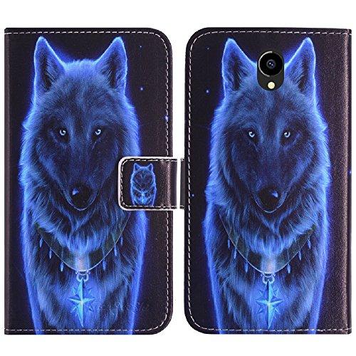 TienJueShi Lobo Book Style Funcion de Soporte Funda Caso Carcasa Proteccion Cuero Skin Case Cover Etui para M-Net Power 1 5 Inch