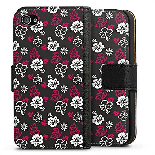 Apple iPhone X Silikon Hülle Case Schutzhülle Blumen Muster Flower Sideflip Tasche schwarz