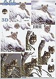 3D Bogen Wolf Tiger Format A4 basteln Scrapbook Stanzbogen Deko