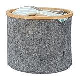 Relaxdays Aufbewahrungskorb Stoff, Aufbewahrungsbox grau, Stoffbox Aufbewahrung, Regalkorb rund, HxD: 31 x 38 cm, grey