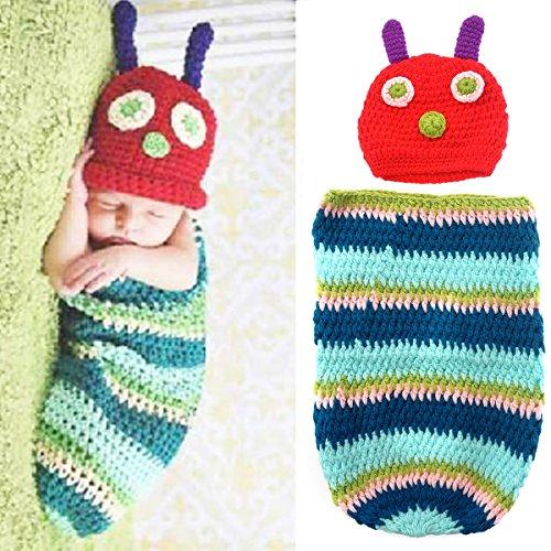 Kleinkind Für Kostüm Caterpillar - PIXNOR Raupe Stil Baby Kleinkinder Neugeborenen Handarbeit häkeln Mütze Hut Baby Foto Props Kleiderset für 3-6 Monate Babys