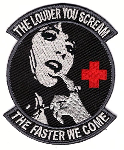 louder-you-scream-faster-we-come-black-medic-morale-patch-iron-on-by-titan-one