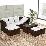 Tidyard Conjunto Muebles de Jardín de Ratán 12 Piezas,Sofa de Exterior para Jardín Terraza Patio,Cojines Extraíbles,Poli Ratán Marrón