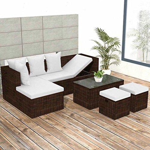 Tidyard- set divani da giardino, mobili da esterno 12 pz in polirattan modulare marrone