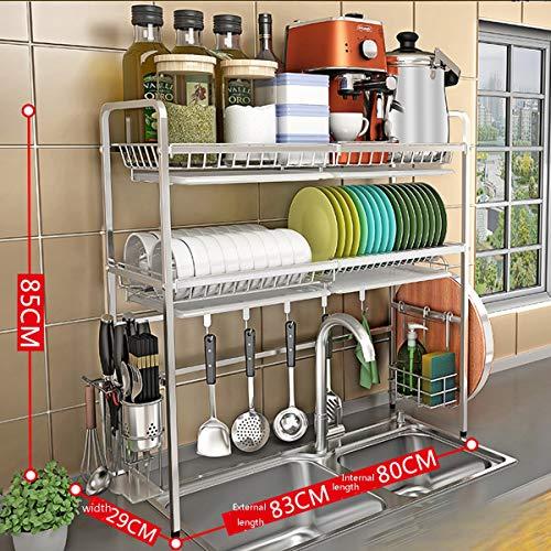 2-Tiers Dish Storage Rack, Edelstahlplatten Schalen Lagerung über dem Waschbecken Rack Geschirr Trocknen Regal Kochutensilien Besteckhalter Organizer