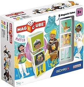 Geomag- Magicube Mix & Match Juguetes de construcción,, 6 Piezas (123)
