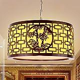 QWER Da soffitto pendente lampada luce Cinese moderno lampadari di antiquariato Arte del legno Vellum cena leggera luce accogliente Hotel Club funziona luce ,40*20cm con LED - QWER - amazon.it