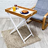 Relaxdays End Table Couch Table Made of Wood and Bamboo 72 x 60 x 40 cm Side Table with Tablet and Frame Folding Table Plus Serving Tray Cooking Tray Butler Table Tray Holder, White