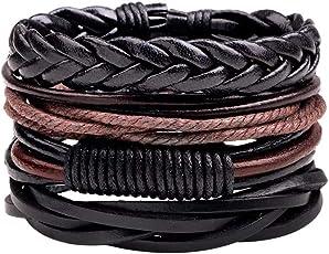 Shining Diva Fashion Set of 4 Genuine Leather Multi Strand Stylish Bracelets for Men and Boys