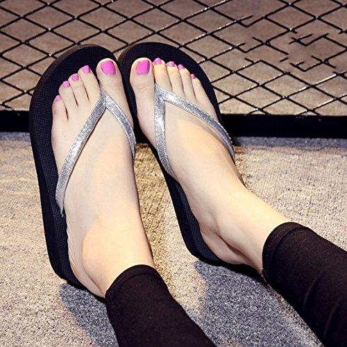 Confortable Les gens glissent les pantoufles d'été Chaussons de mode Chaussons antidérapants à nœuds d'arc Pente de fond plat avec des pantoufles de refroidissement d'usure (5 couleurs en option) (tai E