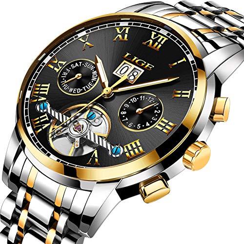 LIGE Herren Uhren Edelsthal Automatische Mechanische Fashion Gold Schwarz Runde Datum Armbanduhr 9813