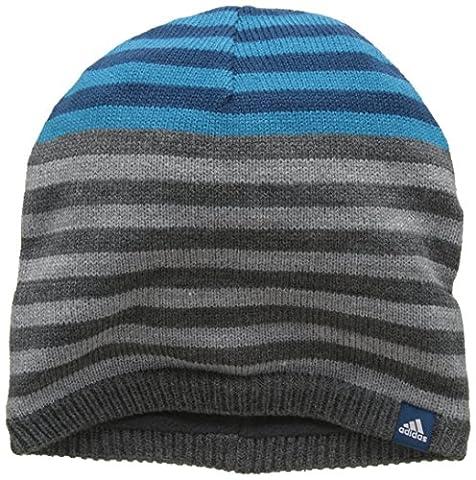 adidas Stripy Bonnet Mixte Enfant, Dark Grey Heather/Blue Night/White, FR : Taille Unique (Taille Fabricant : OSFC)
