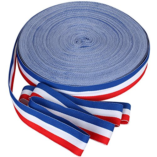 TRIXES 45m x 25mm Französisch Trikolore Dekorative Nylon Band Spule rot weiß blau für Bastille Day Arts Crafts Patriotische Banner National Feiern