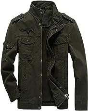 Rrimin Men Casual Jacket Washed Stand Collar Handsome Outwear Coat