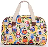 Oilcloth Holiday Travel Weekender Tote Bag Handbag Floral Owl Stripe Print (Large, colourful owls)