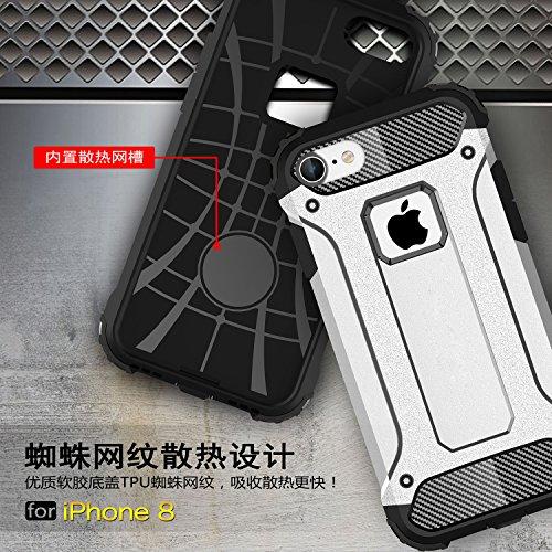 iphone 8 Hülle,XINYUNEW [Geschenk Stahlfolie Displayschutzfolie] Weiche Überzug 2-in-1 Konsole Silikon TPU+PC Diamant-Rüstung Handyhülle Schutzhülle Bumper Case für iphone 8(Marine) Rot